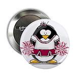 Burgundy Cheerleader Penguin Button