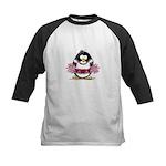 Burgundy Cheerleader Penguin Kids Baseball Jersey