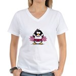 Burgundy Cheerleader Penguin Women's V-Neck T-Shir