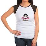 Burgundy Cheerleader Penguin Women's Cap Sleeve T-