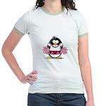Burgundy Cheerleader Penguin Jr. Ringer T-Shirt