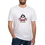 Burgundy Cheerleader Penguin Fitted T-Shirt