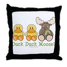 Funny Duck Duck Moose Throw Pillow