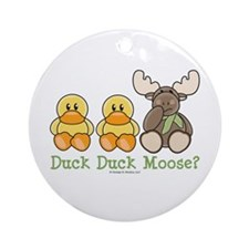 Funny Duck Duck Moose Ornament (Round)