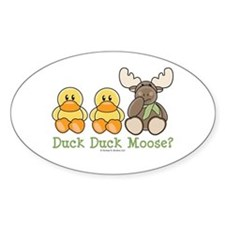 Funny Duck Duck Moose Oval Decal
