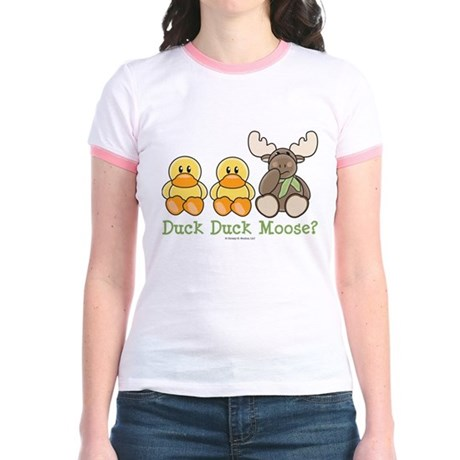 Funny Duck Duck Moose Jr. Ringer T-Shirt