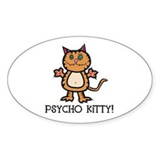 Psycho Kitty Cat Oval Decal