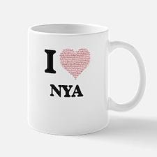 I love Nya (heart made from words) design Mugs