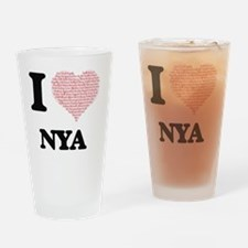 I love Nya (heart made from words) Drinking Glass