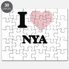 I love Nya (heart made from words) design Puzzle