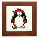 Red Hockey Penguin Framed Tile