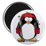 Red Hockey Penguin Magnet