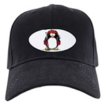 Red Hockey Penguin Black Cap