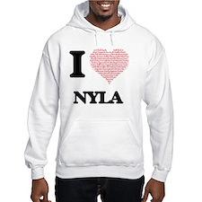 I love Nyla (heart made from wor Hoodie Sweatshirt
