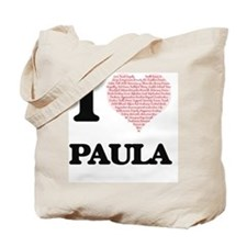 I love Paula (heart made from words) desi Tote Bag