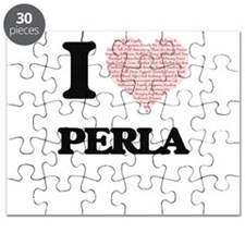 I love Perla (heart made from words) design Puzzle