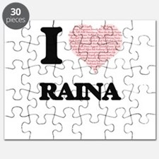 I love Raina (heart made from words) design Puzzle