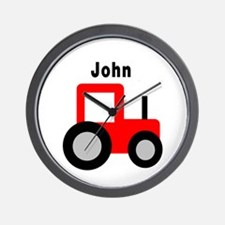 John - Red Tractor Wall Clock