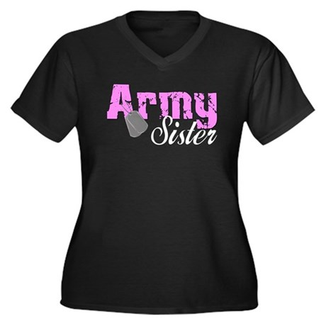 Army Sister Women's Plus Size V-Neck Dark T-Shirt