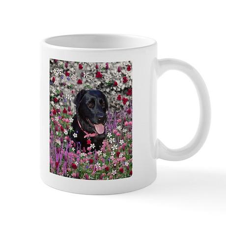 Abby the Black Labrador in Flowers Mug