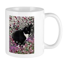 Freckles Tux Cat Flowers II Small Mug