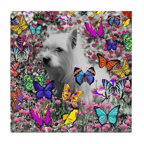 Violet White Westie Butterflies Tile Coaster