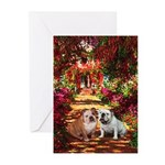 The Path / Two English Bulldogs Greeting Cards (Pk