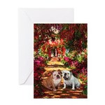 The Path / Two English Bulldogs Greeting Card