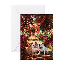 The Path / Two English Bulldogs Greeting Card