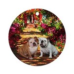 The Path / Two English Bulldogs Ornament (Round)