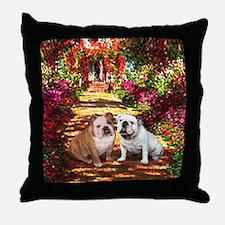 The Path / Two English Bulldogs Throw Pillow