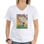 Spring/ English Bulldog (#9) Women's V-Neck T-Shir