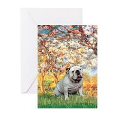 Spring/ English Bulldog (#9) Greeting Cards (Pk of