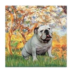 Spring/ English Bulldog (#9) Tile Coaster