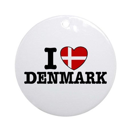 I Love Denmark Ornament (Round)