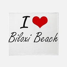 I love Biloxi Beach Mississippi art Throw Blanket