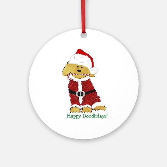 Goldendoodle Santa Claus Round Ornament