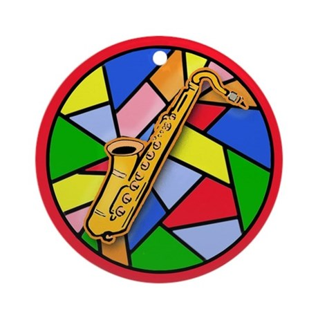 Stained Glass Look Saxophone Musical Ornament