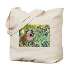 Irises / 2 English Bulldogs Tote Bag