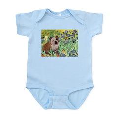 Irises / 2 English Bulldogs Infant Bodysuit