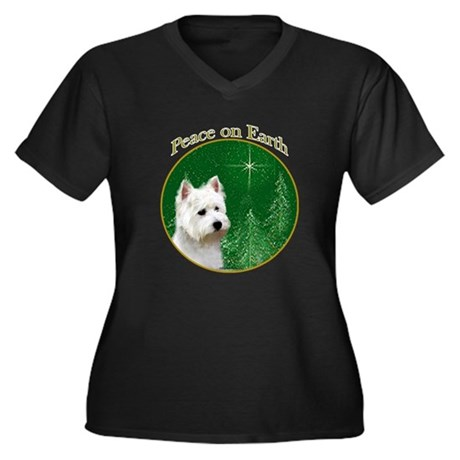 Westie Peace Women's Plus Size V-Neck Dark T-Shirt