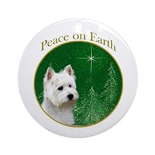 Westie Peace Ornament (Round)