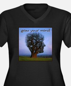 Grow Your Mind Women's Plus Size V-Neck Dark T-Shi