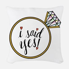I Said Yes Ring Woven Throw Pillow