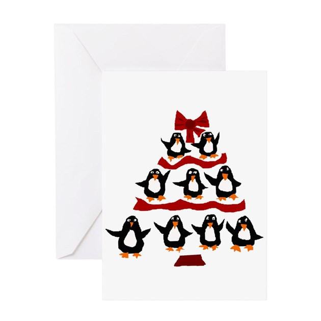 Funny penguin christmas tree greeting cards by admin for Penguin christmas cards homemade