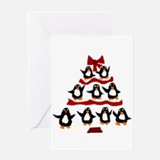 Funny Penguin Christmas Tree Greeting Cards