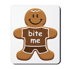 'Bite Me' Gingerbread Man Mousepad
