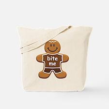 'Bite Me' Gingerbread Man Tote Bag
