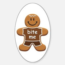 'Bite Me' Gingerbread Man Sticker (Oval)