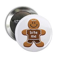 "'Bite Me' Gingerbread Man 2.25"" Button"